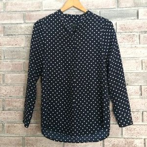 Jcrew navy polka top blouse